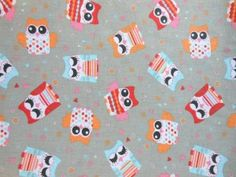 Tkanina kolorowe sowy sówki szary beż  bawełna pościel zasłonki - cena 17 zł za 1 metr