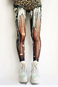melting paint tights, custom made to look like paint it melting down your legs...oddly into them.