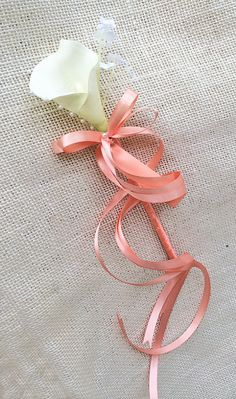 Calla Lily Wedding Flower Girl Wand Pearls and Ribbon by Wedideas