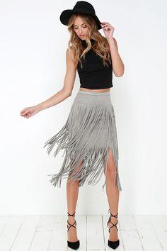 Great Plains Grey Suede Fringe Skirt at Lulus.com!