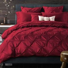 Luxury Red Pintuck Pinch Pleat Duvet Cover Set