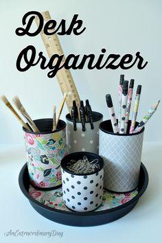 Diy upcycled desk organizer yesterday on tuesday super easy and oh so cute. Teacher Desk Organization, Organization Hacks, Organizing Ideas, Diy Upcycled Desk, Diy Recycling, Ideias Diy, Diy Desk, Super Easy, Desk Ideas