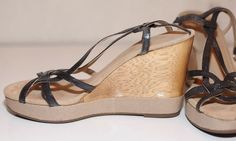 "AEROSOLES 10M B US RADIANT SILVER STRAPPY WOOD NUDE BEIGE WEDGE 4.5"" HEEL #Aerosoles #Strappy #Casual"