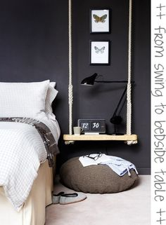 Swing for bedside - keeps everything off the floor. Also like the colour scheme here.