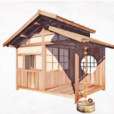 Hello, my dear friends. It has been a while but we are just too busy these days. I want to share with you the following designs. The designs are for a private garden in The Netherlands. The customer asked us to design a storage for fireplace wood and garden utensils, a koshikake and a small shed based on Japanese style building. Another project by Yokoso Japanese Gardens. Enjoy!
