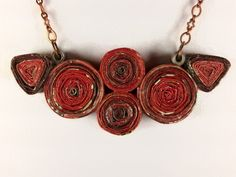 """Another upcycled magazine creation!  """"Don't let fear or insecurity stop you from trying new things. Believe in yourself. Do what you love. And most importantly, be kind to others, even if you don't like them.""""  ~Stacy London  #trynewthings #dowhatyoulove #bekind #upcyclednecklace #recyclednecklace #papernecklace #rednecklace #upcycled #jewelry #forwomen #recycled #paperjewelry #paperquilling #beyourself #recycledjewelry #upcycledjewelry #upcyclerevolution #repurposed #paper #redjewelry…"""