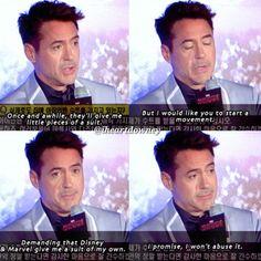 Robert Downey Jr. lobbying to get his own Iron Man suit.