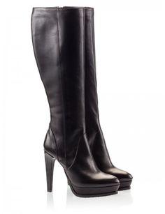 Vitello leather High heel Platform Knee boots