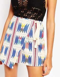 Image 3 of ASOS Wrap Mini Skirt With Embroidery And Grosgrain Tie