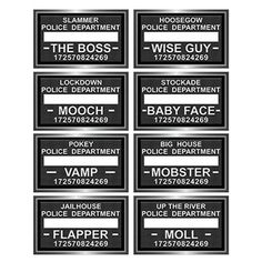 Speakeasy mugshot photo fun signs for a murder mystery party Roaring Twenties Party, Roaring 20s Birthday Party, Gatsby Themed Party, 40th Birthday, Birthday Ideas, Surprise Birthday, Speakeasy Decor, Speakeasy Party, 1920s Speakeasy
