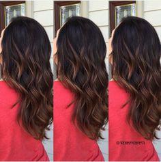 Brunette Dark Hair Balayage Ombré - Caramel Balayage Hair Color