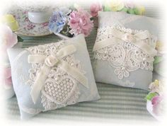 Pillow Sachets Set of 2  Blue Damask Lavender by CharlotteStyle, $22.00