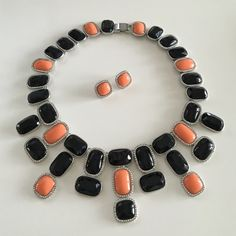 Banana Republic Art Deco Necklace + Earrings Set Very rare Banana Republic black, coral and silver Art Deco statement necklace and stud earrings.  No missing stones- in great condition! Banana Republic Jewelry Necklaces