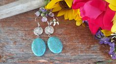 Blue Yonder Silver and Turquoise Dangle Earrings Milk Paint, Wild Flowers, Dangle Earrings, Dangles, Turquoise, Pistols, Pendants, Silver, Handmade