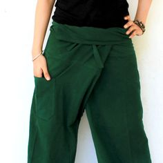 dark green  long Thai fisherman pants hand weave cotton  ,size S-XL,unisex pants,yoga,spa pants. by meatballtheory on Etsy