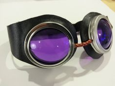 Black and Purple Steampunk Goggles by HGsteamship on Etsy, $20.00