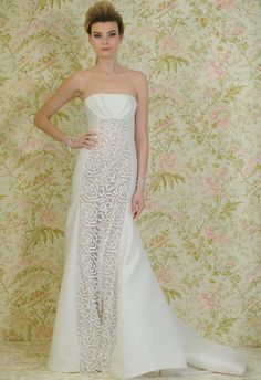 Sheer floral detailing defines Angel Sanchez's latest Spring 2015 bridal collection. | The Knot Blog