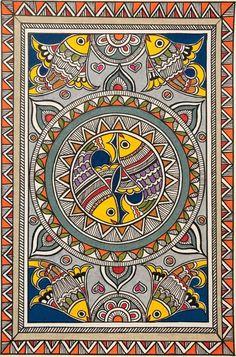 Madhubani Paintings Peacock, Kalamkari Painting, Madhubani Art, Indian Art Paintings, Pichwai Paintings, Abstract Paintings, Abstract Oil, Landscape Paintings, Mandala Design