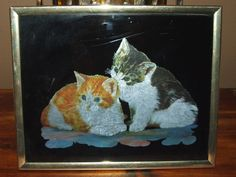 Vintage Kafka Industries Playful Tabby Kittens Foil Metallic Lithograph x Framed Print Wall Art Decor MADE IN USA by bohemiangypsychicago on Etsy Wall Art Decor, Wall Art Prints, Framed Prints, Vintage Wall Art, Vintage Walls, Tabby Kittens, Black Backgrounds, Framed Art, Metallic