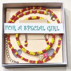 Girls 3 piece Jewelry set, Girls Red and yellow Necklace set, Girls Bracelets, Girls Jewelry set, Girls 4-12 Jewelry