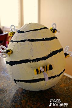 DIY Paper Mache Beehive: Bumblebee Costume Accessory #Pbkhalloween | Mess For Less