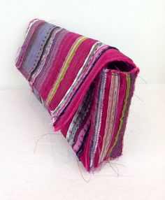 Vintage 90s Pink Fabric Boho Ethnic Clutch Handbag by baileysbits