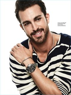 All smiles, Clint Mauro wears sweater for Men's Health Croatia.