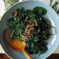 Vietnamese Spinach With Fried Shallots Recipe By Chef Charles Phan (Sunset Magazine)