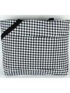 $11.50 Houndstooth with Black Trim Large Tote Bag