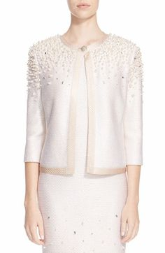 St. John Collection Beaded Bouclé Knit Jacket available at #Nordstrom