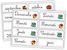Etiquettes pour le rituel de la date, exemple d'affichage. Frise Chrono, Online Income, Montessori, Alphabet, Language, Dating, Bullet Journal, Education, Cycle 2