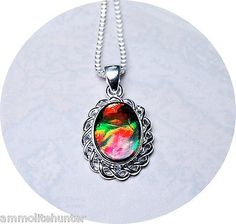 Canada Ammolite Jewelry Pendant Three Deep Rich Swirls of Colour in Sterling | eBay
