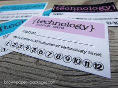 Technology Punch cards.  Each punch is 30 minutes of tech time. They get 1 card/ week. Set a timer &  then punch the card after their time is up.