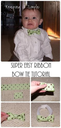 Super Easy Ribbon Bow Tie Tutorial.  Perfect for boys of all ages.