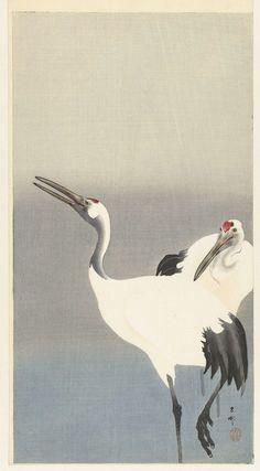 Twee kraanvogels, Ohara Koson, 1900 - 1930