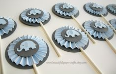 Blue and Gray Elephant Cupcake Toppers- Elephant Baby Shower Decorations..Set of 12. $12.00, via Etsy.