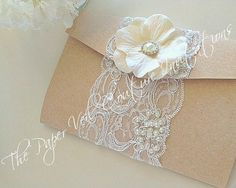 Items similar to Vintage Glamour Couture Lace Collection 4 - Blush and Cream - Kraft and Cream - Wedding Pocket-fold Invitation Suite on Etsy Gold Wedding Theme, Cream Wedding, Wedding Pics, Wedding Cards, Wedding Ideas, Wedding Stuff, Vintage Glamour, Vintage Lace, Pocketfold Invitations