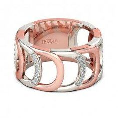 #Jeulia - #Jeulia Two Tone Hollow Round Cut Created White Sapphire Women's Wedding Band - AdoreWe.com