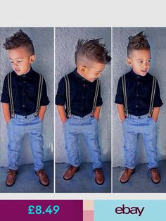 ab0c959fd0ef New Gentleman Baby Boy T-shirt+Suspender Trousers Overall Suits for ...