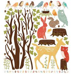 Woodland scene wall stickers - retro - love mae