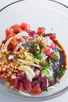 In Hawaii, poke, a salad of marinated uncooked tuna, can be found in pretty much every situation where food is present