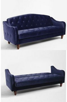 This is adorable!  And not a bad price....Blue Velvet Tufted Ava Sleeper Couch, see picture with little pillows.