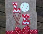 Baseball Appliqued Burlap Garden Flag by SewSouthernCreations