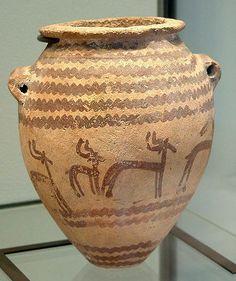 Un típico Naqada II jarra decorada con gacelas. (Periodo predinástico)
