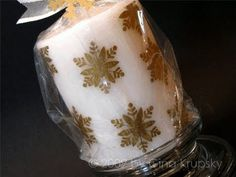 Stamping on tissue paper and make beautiful candle.