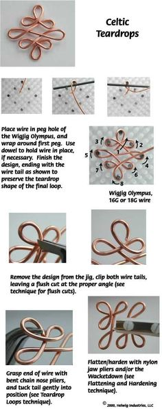 Celtic Wire Collage Jewelry Making Project made with WigJig tools and jewelry supplies.:
