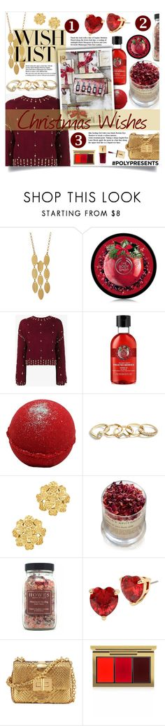 """#PolyPresents: Wish List"" by lillyluvs ❤ liked on Polyvore featuring Argento Vivo, Jonathan Simkhai, GUESS, London Road, Lola's Apothecary, Betsey Johnson, Tom Ford, MAC Cosmetics, contestentry and polyPresents"