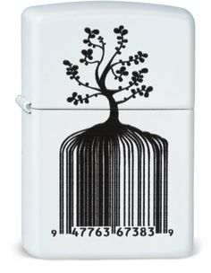 """Identity Tree Barcode - my design, incorporating a barcode where the digits were meant to spell out """"Zippo Forever"""" if you look at a telephone keypad, but the last """"check digit"""" got changed from a 7 to a 9.  Ah well, at least it is very cool looking and I know what I meant for it to say.  :-)"""