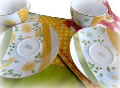 Tasse et sous tasse déjeuner en porcelaine peint à la main personnalisable