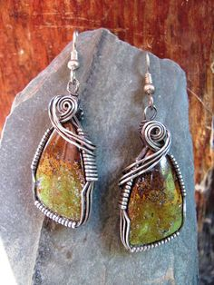 Sterling Silver Wire Wrapped Serpentine Earrings Handmade, Wire Wrapped Jewelry